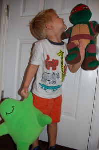 He rarely plays with stuffed animals. He chooses to keep Raphael (he built him) and get rid of Flubber (a hand-me down from Mommy)