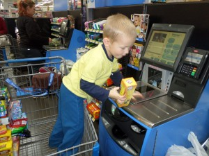 Yes he wanted to do the self-checkout!