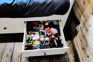 Here is the size of one drawer. They can get a little cramped and unorganized but it gives us an excuse to clean out clothes. This is the baby's drawer.